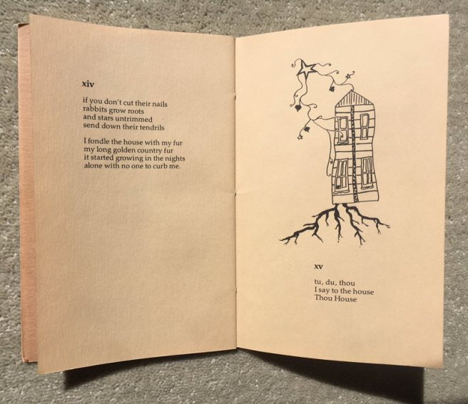 Two poems in House Poems with a drawing of a house growing roots and vines