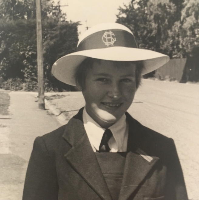 B&W photo of 11-year-old Rachel in Christchurch Girls High School uniform