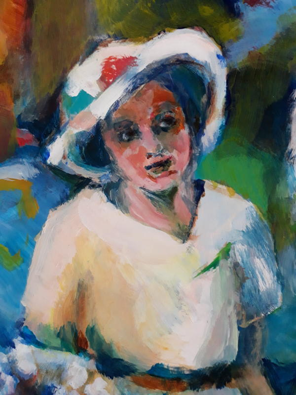 Dark-eyed beauty Aunty Lesley, bridesmaid at Celia's wedding. From a painting by Lesley Evans.