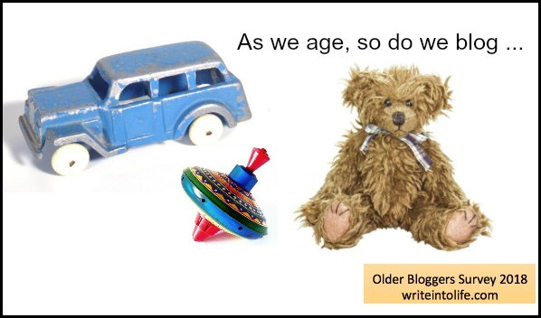 As we age, so do we blog. Toy jeep, top and teddy bear. Older bloggers survey 2018, writeintolife.com
