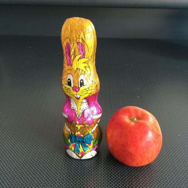 Chocolate bunny with apple
