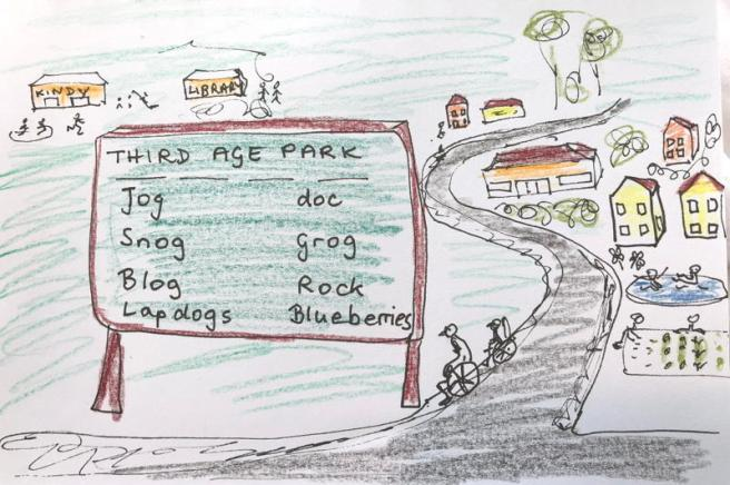 Drawing of retirement village, billboard says jog, snog, blog, lapdogs, doc, grog, rock, blueberries